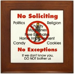 Buy this No Soliciting Sign -- Unauthorized use or derivative works are prohibited and will be challenged